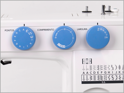 Botões seletores de ponto e ajuste de largura e comprimento do ponto