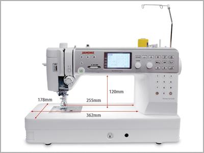 Ampla área de braço à direita da agulha na máquina MC6700P