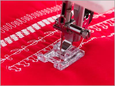 Amostra de costura de pontos decorativos na máquina de costura DM7200