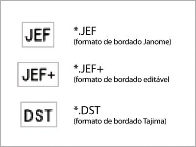 Formatos de arquivo de bordado compatíveis com MB-7