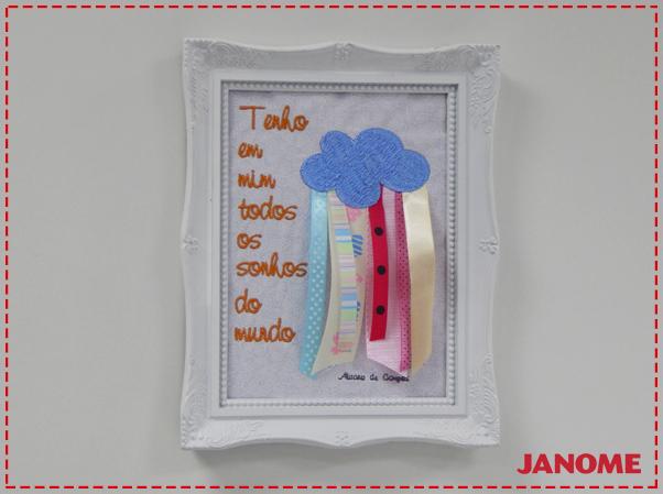 Crie e Borde com a Janome – Série Decorações – Quadro Nuvem com fitas
