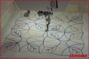 Amostra de Quilting na máquina de bordar Janome MC500E