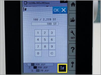 Função de teclado para ir direto ao ponto específico do bordado MC500E