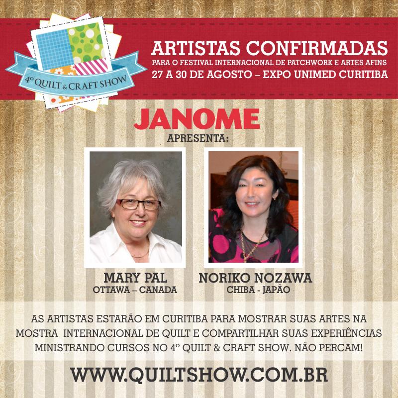 Janome apresenta Artistas Internacionais no evento Quilt & Show em Curitiba!