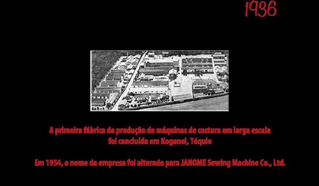 1936 - Primeira fábrica para produção de máquinas de costura em larga escala no Japão