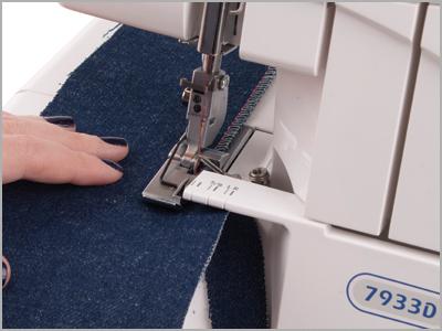 Costura tecidos finos e grossos como jeans na overlock 7933D