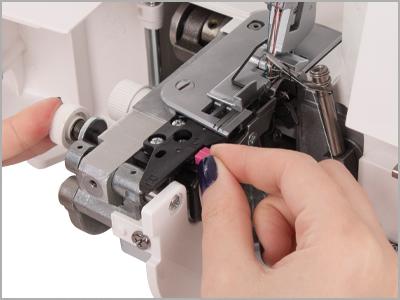 Fácil conversão para costura de bainha enrolada frufru na overlock janome 7933D
